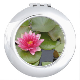 Bright Pink Water Lily Flower Travel Mirrors