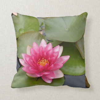 Bright Pink Water Lily Flower Throw Pillow