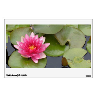 Bright Pink Water Lily Flower Wall Decals