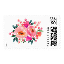 Bright Pink Watercolor Floral Botanical Bouquet Postage