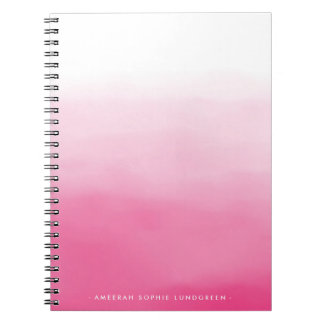 Bright Pink Watercolor Ombre Notebook