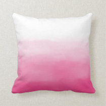 Bright Pink Watercolor Ombre Pillow
