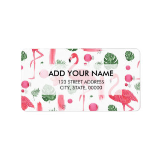 Bright pink watercolor tropical flamingo floral label