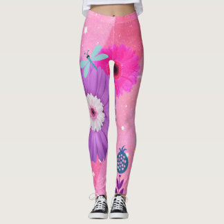Bright Pink Whimsical Flower Leggings