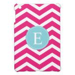 Bright Pink White Chevron Blue Monogram Cover For The iPad Mini