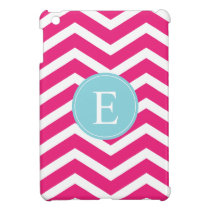 Bright Pink White Chevron Blue Monogram Cover For The iPad Mini