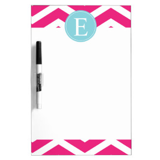 Bright Pink White Chevron Blue Monogram Dry Erase Board