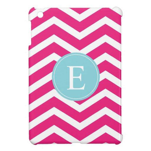 Bright Pink White Chevron Blue Monogram Case For The iPad Mini