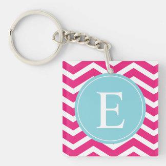 Bright Pink White Chevron Blue Monogram Acrylic Key Chain
