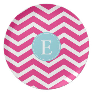 Bright Pink White Chevron Blue Monogram Melamine Plate
