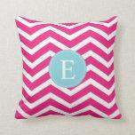 Bright Pink White Chevron Blue Monogram Throw Pillows