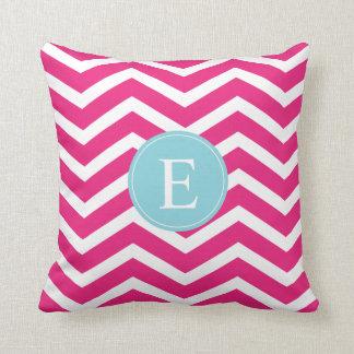 Bright Pink White Chevron Blue Monogram Throw Pillow