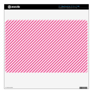 Bright Pink White Diagonal Stripes MacBook Decals