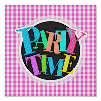 Bright Pink & White Gingham Pattern Posters