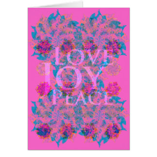 Bright Pink | Winter Holidays | Love Joy Peace Card