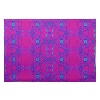 bright pink with turquoise lace-like pattern cloth placemat