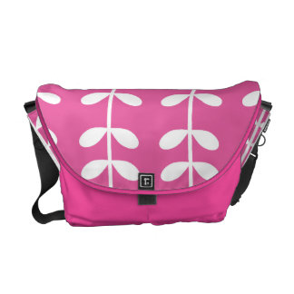 Bright Pink with White Vines Messenger Bag