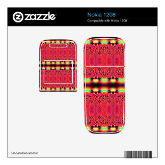 Bright pink yellow lacey abstract decals for nokia 1208