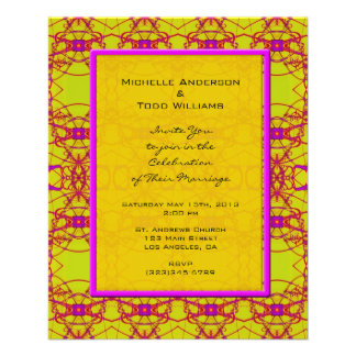 Bright Pink Yellow Pattern Wedding Flyer