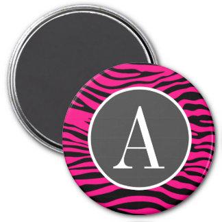 Bright Pink Zebra Animal Print 3 Inch Round Magnet