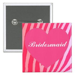 Bright pink zebra heart bridesmaid button