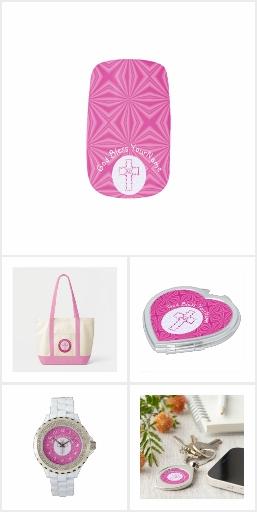 Bright Pink Zig Zag Christian Cross Accessories
