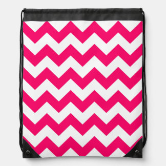 Bright Pink Zigzag Pattern Drawstring Bag