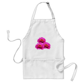Bright Pink Zinnia Flowers Adult Apron