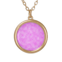 Bright Pinkish Purple Cloudy Pattern Design Gold Plated Necklace