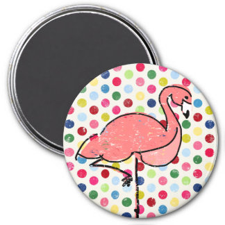 Bright Polka Dots Pink Flamingo 3 Inch Round Magnet