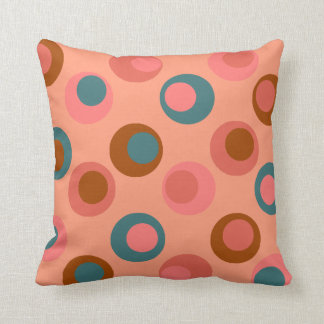 Bright Polka Double Dots Coral Peach Teal Rust Pillow