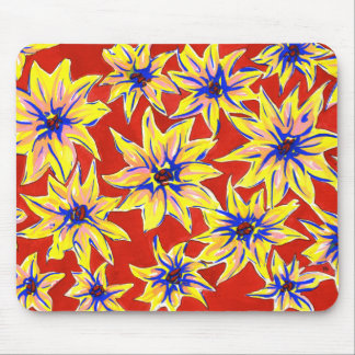 Bright Pop Art Floral Red and Yellow Mouse Pad