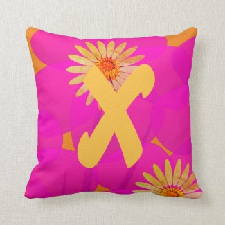 Bright Pop of Pink  Floral Monogrammed Throw Pillow