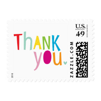 BRIGHT POP TYPE modern typography bold thank you Postage Stamps