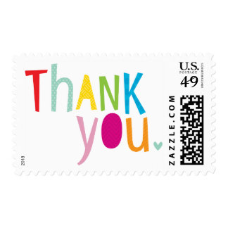 BRIGHT POP TYPE modern typography bold thank you Postage Stamp