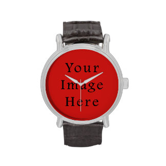 Bright Poppy Red Color Trend Blank Template Watches