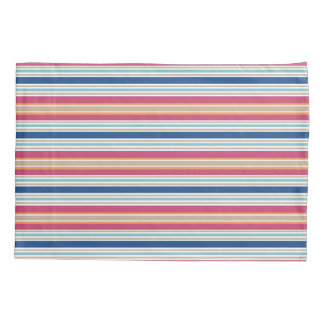 Bright Preppy Colors Red Blue Stripe Pillow Case
