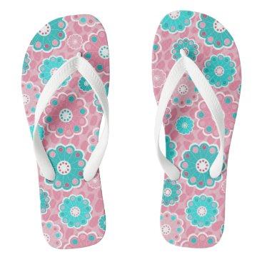 Beach Themed Bright pretty pink and aqua floral flip flops