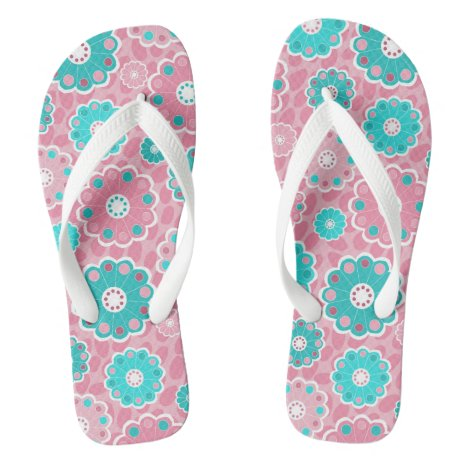 Bright pretty pink and aqua floral flip flops
