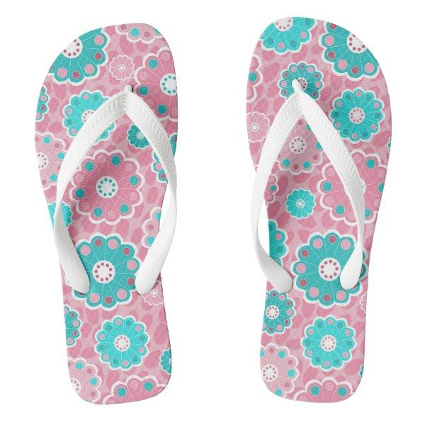Bright pretty pink and aqua floral flip flops