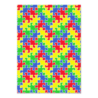Bright Primary Colors Jigsaw Puzzle Pieces Card
