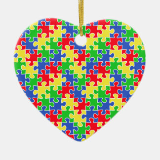 Bright Primary Colors Jigsaw Puzzle Pieces Ceramic Ornament