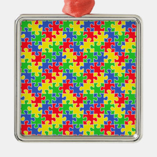 Bright Primary Colors Jigsaw Puzzle Pieces Metal Ornament