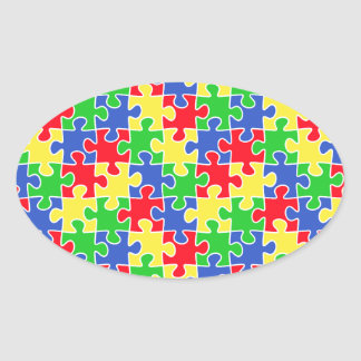 Bright Primary Colors Jigsaw Puzzle Pieces Oval Sticker