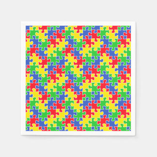 Bright Primary Colors Jigsaw Puzzle Pieces Paper Napkin