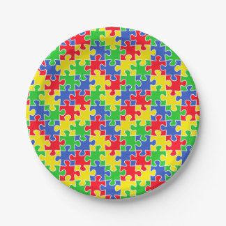 Bright Primary Colors Jigsaw Puzzle Pieces Paper Plate