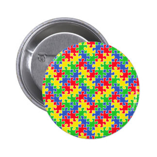 Bright Primary Colors Jigsaw Puzzle Pieces Pinback Button