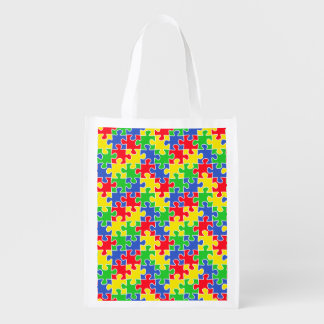 Bright Primary Colors Jigsaw Puzzle Pieces Reusable Grocery Bag