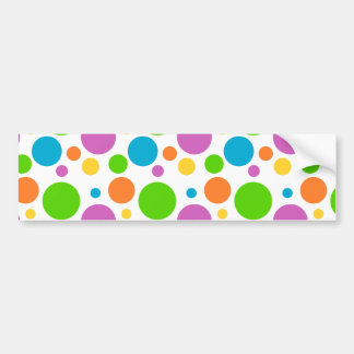 Bright Primary Polka Dots Bumper Sticker