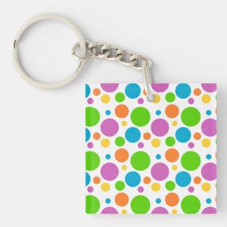 Bright Primary Polka Dots Keychain